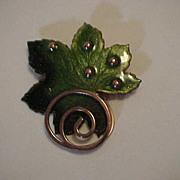 Copper Enamel Matisse Renoir Vintage Brooch Leaf Pin