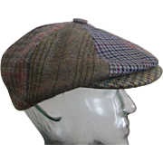 Mens Newsboy Cap Hat Vintage 1970s Irish Plaid Herringbone St. Patrick's Day