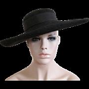 Black Wide Brim Hat Vintage 1940s Ada Saunders New York Wool Felt