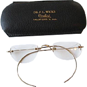 RARE Antique Victorian Crescent Moon Wire Rim Eyeglasses In Advertising Case