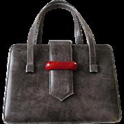 Box Purse Bakelite Handle Vintage 1950s Grey Leather Harzfelds of Kansas City