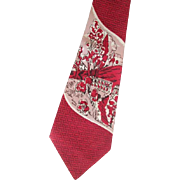 Mens Necktie Vintage 1940s-50s Novelty Rayon Damask Red Scenic Road Less Traveled