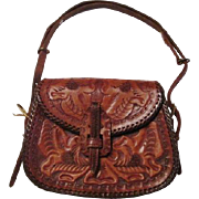 Hand Tooled Leather Purse Vintage 1950s Western Handbag