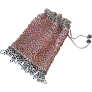 Antique Tatting Beaded Purse Drawstring Lace Bag