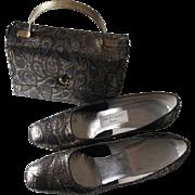 Mod Shoes Box Purse Set Vintage 1960s Metallic Brocade