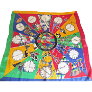 Silk Scarf Vintage 1960s Around The World Clocks