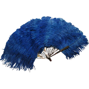 Victorian Antique Ostrich Feather Fan Folding Blue Tortoiseshell Huge Size
