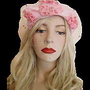 Pink Millinery Flowers Hat Vintage 1950s Polka Dot Veil