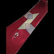 Vintage 1940s Art Deco Mens Necktie Jacquard Damask Pilgrim Cravats