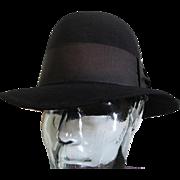 Mens Vintage 1950s Black Fedora Hat Dobbs New York