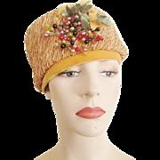 Vintage 1960s Mustard Straw Hat Velvet Millinery Berries Bow