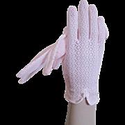 Pink Lace Wristlet Gloves Vintage 1950s Pinup Mesh Nylon