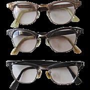Cat Eyeglasses Frames Vintage 1950s Etched In Three Colors
