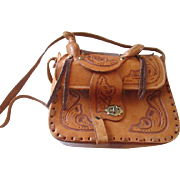 SOLD Tooled Leather Saddle Bag Purse Vintage 1970s Western Handbag