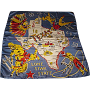 Western Cowboy Texas Map Scarf Vintage 1950s Lone Star State Indian Chief Souvenir