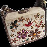 Enid Collins Jeweled Purse Vintage 1960s Hummingbird Flowers Brown Tan