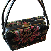 SALE Box Purse Handbag Vintage 1950s Needlepoint Flower Womens Dova Accessory
