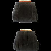 SALE Art Deco Bakelite Dance Purse Vintage 1920s Suede Leather Virginia Art Flapper Accessory