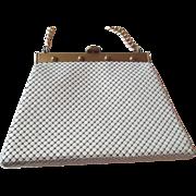 Mod Whiting and Davis Purse Vintage 1960s White Alumesh Enamel Handbag