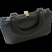 SALE Black Box Purse Vintage 1950s Verdi Accordion Embossed Leather Bag Handbag