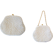 REDUCED White Beaded Clutch Purse Vintage 1960s Womens Accessory Bridal Wedding Evening Wear