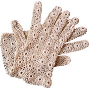 Irish Crochet Lace Gloves Vintage 1930s Womens Accessory Bridal Wedding