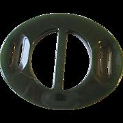 SALE Art Deco Bakelite Buckle Vintage 1930s Green Carved Belt Accessory
