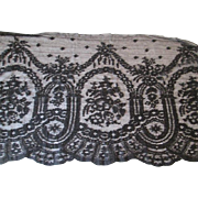 Fine Antique Black Net Lace Victorian 13 Inches By 3 Yards Edging Trim