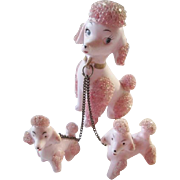 SOLD Lefton Pink Poodle Figurine Set Vintage 1950's Beaded Mama With Puppies