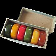 Bakelite Napkin Ring Set Vintage 1940s Original Box Set of 6