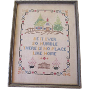 Vintage 1930s Cross Stitch Motto Sampler Framed Picture