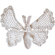 Crochet Lace Butterfly Moth Doily Vintage 1930s Handiwork