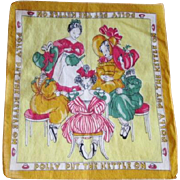Vintage 1940s Childrens Hanky Hankie Polly Put The Kettle On Tea Party