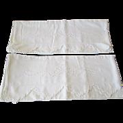 Pair Vintage 1950s Pillowcases White Cotton Openwork Scalloped Edges