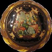 Bakelite Compact Vintage 1940s Deeply Carved Applejuice Vanity Renaissance Scene