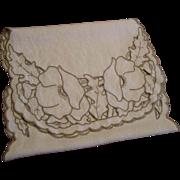 Linen Floral Dresser Scarf Vintage 1930s White Taupe Openwork