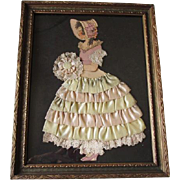 Ribbon Art Paper Doll Vintage 1930s Arts & Crafts Framed