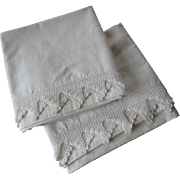 Crocheted Lace Pillowcases Vintage 1930s White Cotton Pair