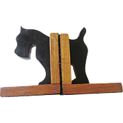 Folk Art Scottie Dog Bookends Vintage 1930s Quartersewn Oak Mission Style