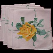 Yellow Rose Napkins Vintage 1950s Printed Set of 4