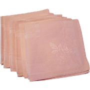 Pink Damask Linen Napkins Vintage 1940s Set of 6