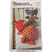 SOLD Stuffed Animal Sewing Pattern Vintage 1960s Elephant Mouse Turtle Butterick 3419 Uncut