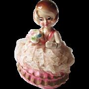 Vintage 1950s Ucagco Girl Figurine Trinket Box