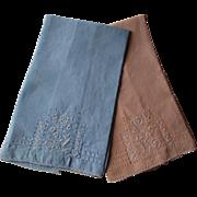 Vintage 1930s Linen Guest Towels Blue Peach His Hers