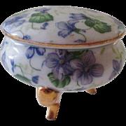 Porcelain Footed Trinket Box Purple Pansies