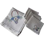 Tea Table Tablecloth Napkins Vintage 1930s Embroidered Flower Basket