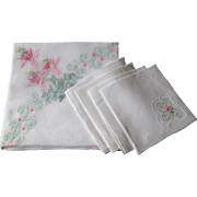 Marghab Tea Table Tablecloth Napkins Vintage Linens Set Madeira
