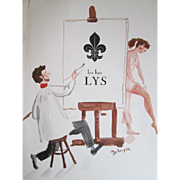 French Lys Nude Painter Hosiery Advertisement Vintage 1950s Paper Ephemera Oleg Zinger