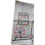 Embroidered Guest Towel Vintage 1930s Toweling Fabric Spinning Wheel