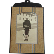 SOLD WWI Postcard Military Soldier Art Deco Frame Real Photo
